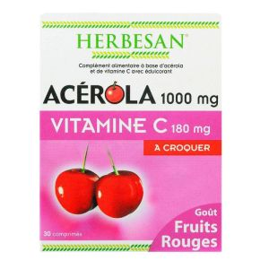 Herbesan Acerola1000mg  Fruits rouges vit  C 30 comprimés